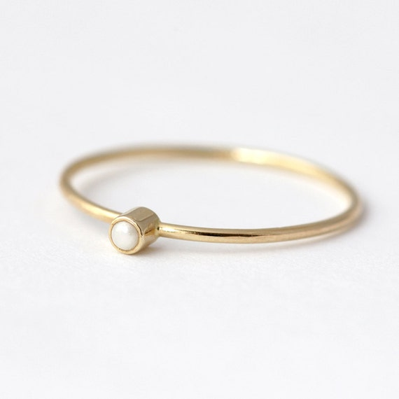 Gold Pearl Ring - Delicate Gold Ring - Alternative Engagement Ring - 14k Gold Ring