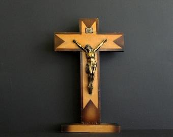 Vintage Crucifix Wood Cross with Brass Jesus Christ On SIngle Tier Base