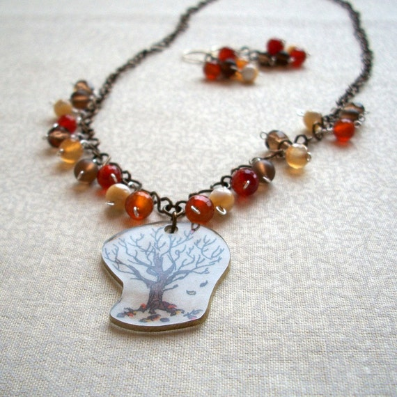 Fall Autumn Red Brown Jewelry, Ready to Ship