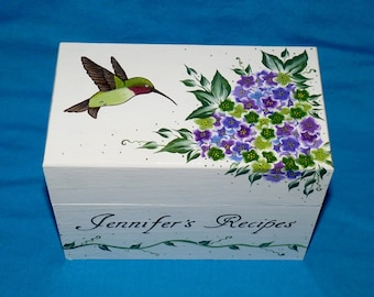 Custom Recipe Box Hand Painted Hummingbird Personalized Wood Recipe Box Wedding Recipe Card Box 4x6 Custom Wedding Bridal Shower Gift