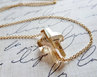 Golden Crystal Floating Sideways Cross / 14K Gold Fill / SimplyJoli / Christian / Cross / Faith