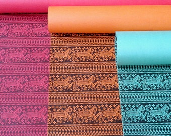 Tribal Print Set of 3 Wrapping Papers and craft paper supply in Red, Orange and Green