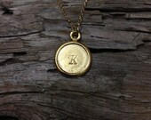 Round initial necklace,brideesmaid gifts, 14k gold filled, 18k gold vermeil
