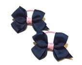 Pony Tail Bows - Girls Ponytail - Pigtail Bows - Navy Pink