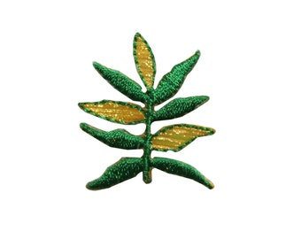 ID #7204 Green and Yellow Plant Leaf Leaves Iron On Embroidered Patch Applique