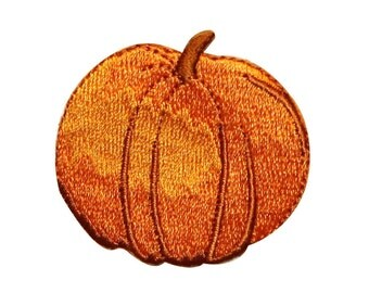 ID #0799B Pumpkin Halloween Harvest Autumn Embroidered Iron On Badge Applique Patch
