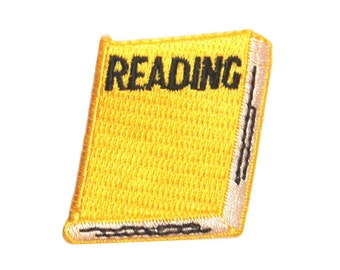 ID #0987C School Yellow Notebook Reading Class Embroidered Iron On Badge Applique Patch