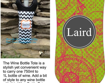 Custom Printed Wine Bottle Tote with Green/Pink Grunge Design & Personalization