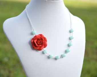 FREE EARRINGS Succulent Red Rose and Aqua Blue Stone Necklace, Red Rose Flower Necklace,  Red and Aqua Bridesmaid Necklace