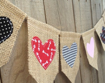 Hearts Burlap and Fabric Banner // Valentine's Day Decoration