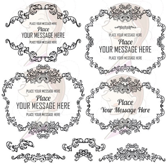 French Provincial Frame Wedding Clipart Foliage by ...