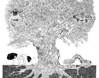 Creature tree - The ecosystem of an oak tree.  Illustration print.