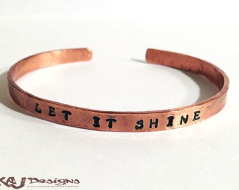 Personalized Copper Cuff Bracelet - Rustic - Hammer Wrought - Custom Sized