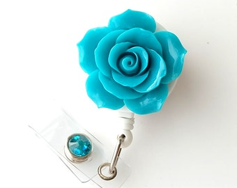 Full Bloom Teal Rose - Retractable ID Badge Holder - Flower Badge Reel - Designer ID Reel - RN Gift - Pretty Name Badge Clip - BadgeBloom