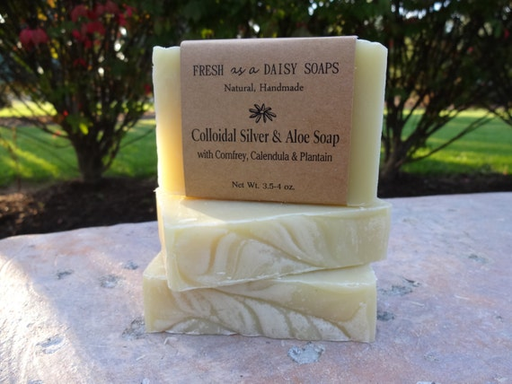 Colloidal Silver & Aloe, Natural Handmade Soap, 100% Natural, Vegan, Aloe Vera Soap