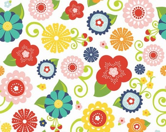 Lazy Day by Lori Whitlock  - Riley Blake Designs - Half Yard  Cut - Lazy Main White - Cotton Fabric - White  Fabric