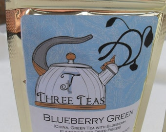 Blueberry Green Tea China Green Tea with Blueberry Flavoring and Dried Pieces Three Teas Foil Packages Resealable Custom
