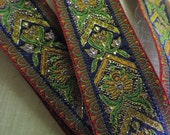 "Vintage Victorian French Floral  Tapestry Jacquard Ribbon Trim 1 1/2"" Wide"