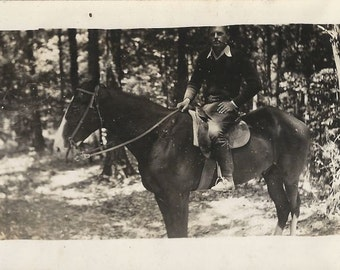 Hunk in the Woods - Vintage 1930s Handsome Equestrian Silver Gelatin Print Photograph