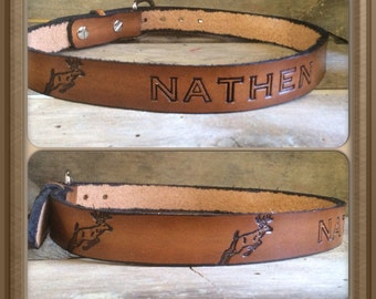 """Genuine Leather Kids  belt with jumping deer from infants to size 28""""  Hand-made & Personalized Name Belt"""