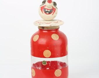 Circa 1950 Folk Art Red Yellow Duraglas Clown Glass Iced  Sun Tea Container Dispenser Jar Original Decal