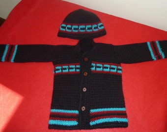 Hand Crocheted Baby Boy Sweater and Hat Size18 to 24 Month Old