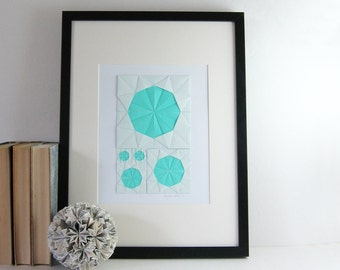 Origami Sketch No26 Turquoise Paper Collage - Modern Home Decor - Origami Art - Geometric Circles - Paper Anniversary - Blue Wall Decor