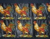 "19c miniature petitpoint cockerel for dolls house projects tiny embroidery pillow picture 1 1/2"" x 1 5/8"""