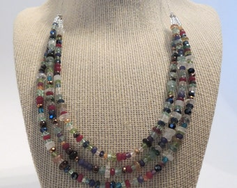 Ruby Saphire Amethyst Pyrite Aquamarine Peridot Triple Stranded  Necklace Gemstones Fashion Gift under 70
