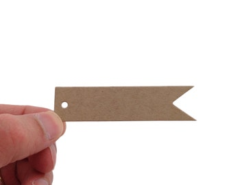 Kraft Brown Pennant Flag Tags - 100 Count