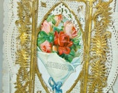 Antique Fancy Bi-Fold Victorian Paper Gold Lace Greeting Card To My Love Valentine Pink Rose Anniversary