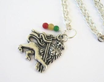 Ethiopian Lion Of Judah Necklace, Rasta Necklace, Haile Selassie I Necklace, Rastafarian Inspired,  24 inches, Choose Your Length