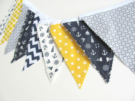 Nautical bunting navy blue grey yellow fabric by ovationstudio for Nautical nursery fabric