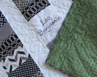 Coin Quilt Black White- Embroidered