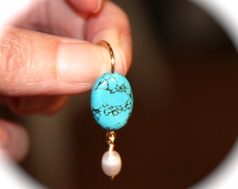 Turquoise Belly Button Ring, Belly Button Jewelry, 18 gauge Belly Button Hoop