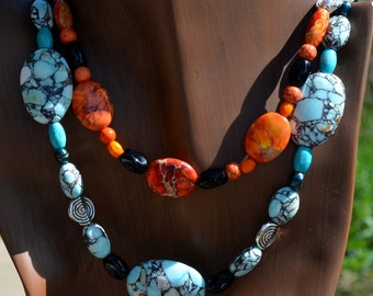 Bold Turquoise & Orange Stone Beaded Necklace