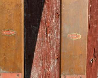 Primitive VERMONT All Authentic Rare x-Long Size Wooden Skis Famous Brand 'C.A. LUND' Original Finish, Bindings, Ski Chalet, Country Decor