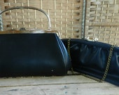 Vintage Pair of Blue and Black Clutches with Gold Tone Trim