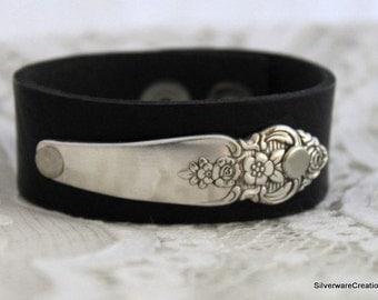 Spoon Bracelet w/ LEATHER SILVERWARE Spoon Bracelet - DISTINCTION 1951 - Ready To Ship & Boho Chic