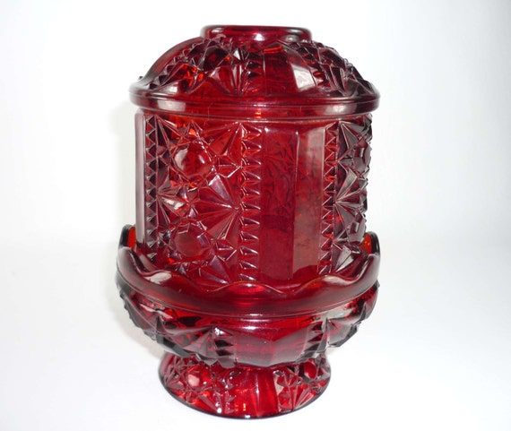 Red Fairy Lamp Amberina Indiana Glass Stars And By Chromaticwit