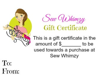 Sew Whimzy Gift Certificate
