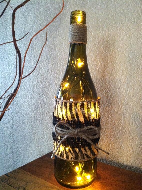 Zebra Lantern String Lights : Wine Bottle Light Zebra Print Burlap Zebra String Wine