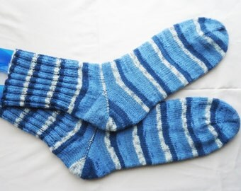 Knitted Men Socks, Striped Men Socks, Blue and Grey Socks, UK Seller