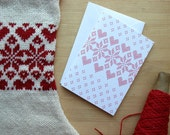 Scandinavian Star Cross Stitch Greeting Card with Hearts in Red and White (Blank) 4x6