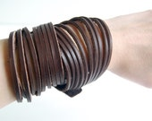 Chocolate Multi-Stranded Leather Cuff - Handmade Leather Bracelet