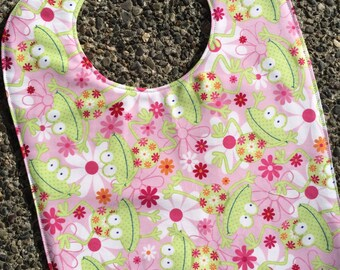 TODDLER or NEWBORN BIB: Tossed Frogs on Pink with Flowers, Personalization Available