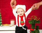 Baby Boy Santa Bodysuit with suspenders with Black Santa Pants - CHRISTMAS Photo Prop, Baby Holiday, Santa Tie, Christmas Card