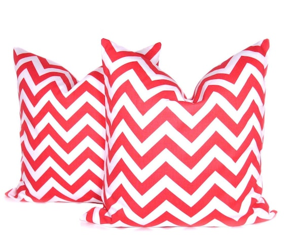Decorative Pillow Covers Coral Pillow Cover Chevron Pillow ZigZag  16x16 Printed fabric both sides Cushion Cover Housewares Accent Pillows