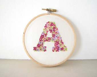 Embroidery Hoop Wall Art Home Decor - Custom personalized Initial letter alphabet Flower garden floral Hand embroidered gardener gift