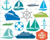 Digital Nautical Boat and Ship Clip Art, Personal and Small Commercial Use ---- BB 0813